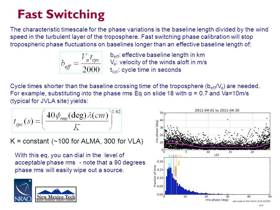 55 Fast Switching The characteristic timescale for the phase variations is the baseline length divided by the wind speed in the turbulent layer of the