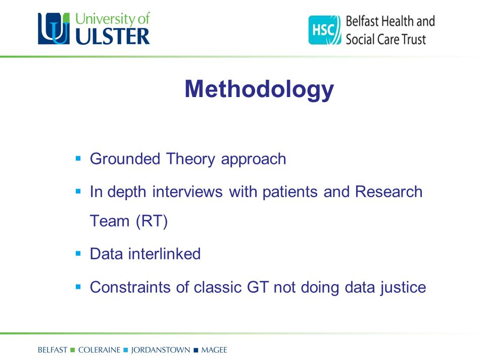 Methodology  Grounded Theory approach  In depth interviews with patients and Research Team (RT)  Data interlinked  Constraints of classic GT not d