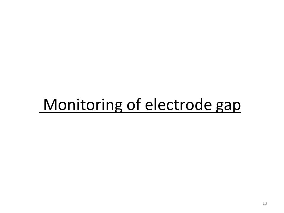Monitoring of electrode gap 13