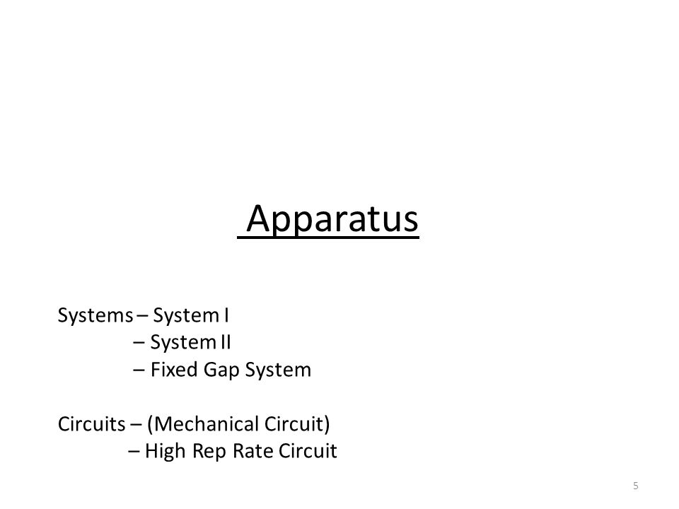 5 Apparatus Systems – System I – System II – Fixed Gap System Circuits – (Mechanical Circuit) – High Rep Rate Circuit