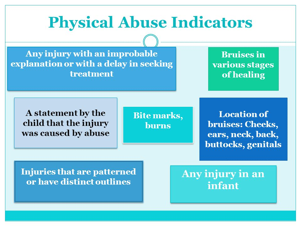 Physical Abuse Indicators A statement by the child that the injury was caused by abuse Location of bruises: Cheeks, ears, neck, back, buttocks, genita