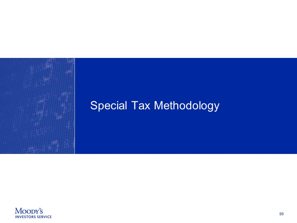 50 Special Tax Methodology