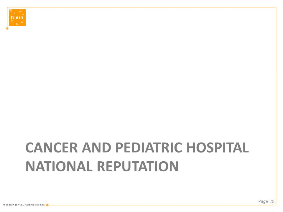 research for your brand's health CANCER AND PEDIATRIC HOSPITAL NATIONAL REPUTATION Page 28