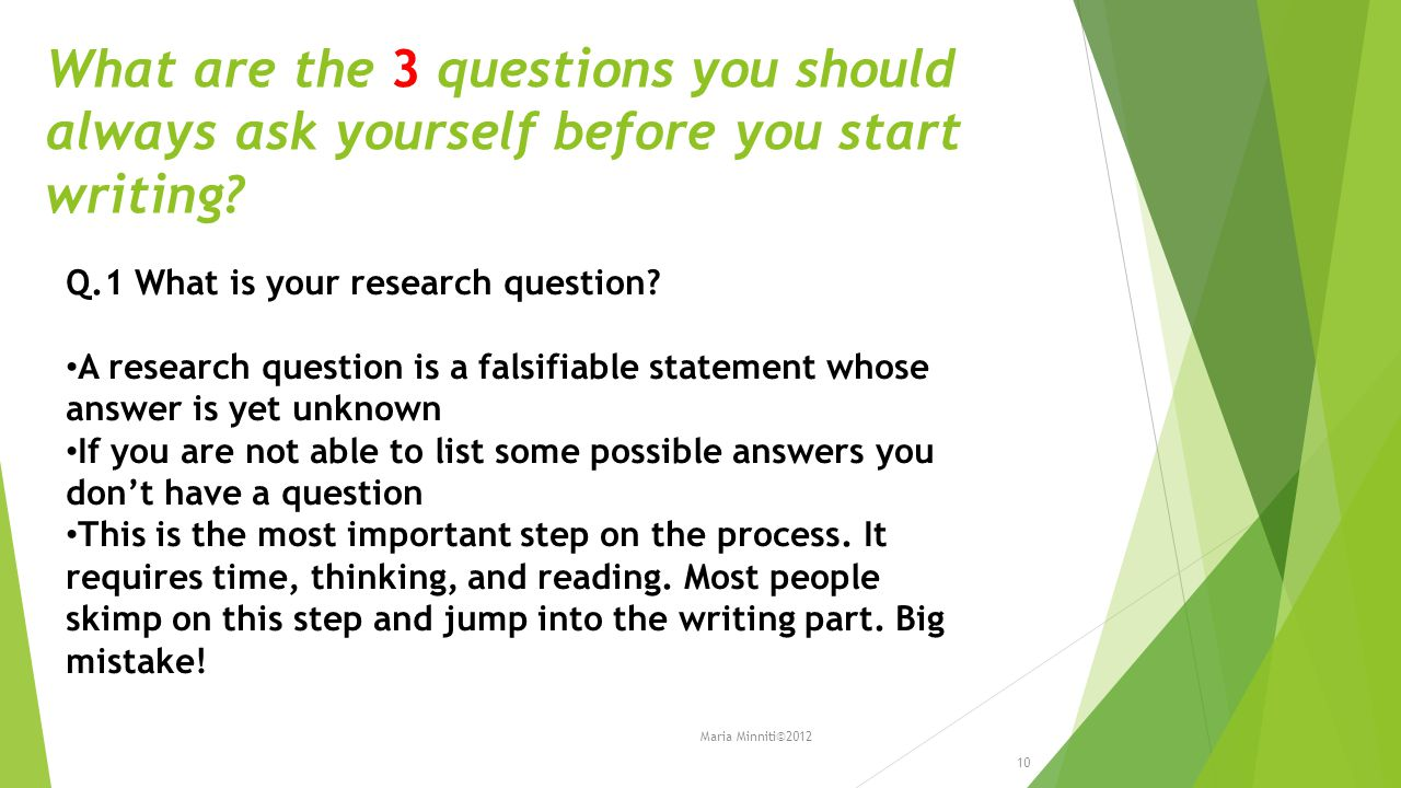 What are the 3 questions you should always ask yourself before you start writing.