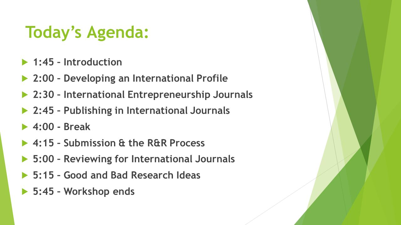 Today's Agenda:  1:45 – Introduction  2:00 – Developing an International Profile  2:30 – International Entrepreneurship Journals  2:45 – Publishing in International Journals  4:00 - Break  4:15 – Submission & the R&R Process  5:00 – Reviewing for International Journals  5:15 – Good and Bad Research Ideas  5:45 – Workshop ends