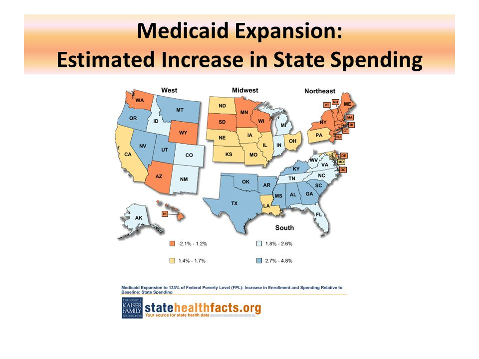 Medicaid Expansion: Estimated Increase in State Spending