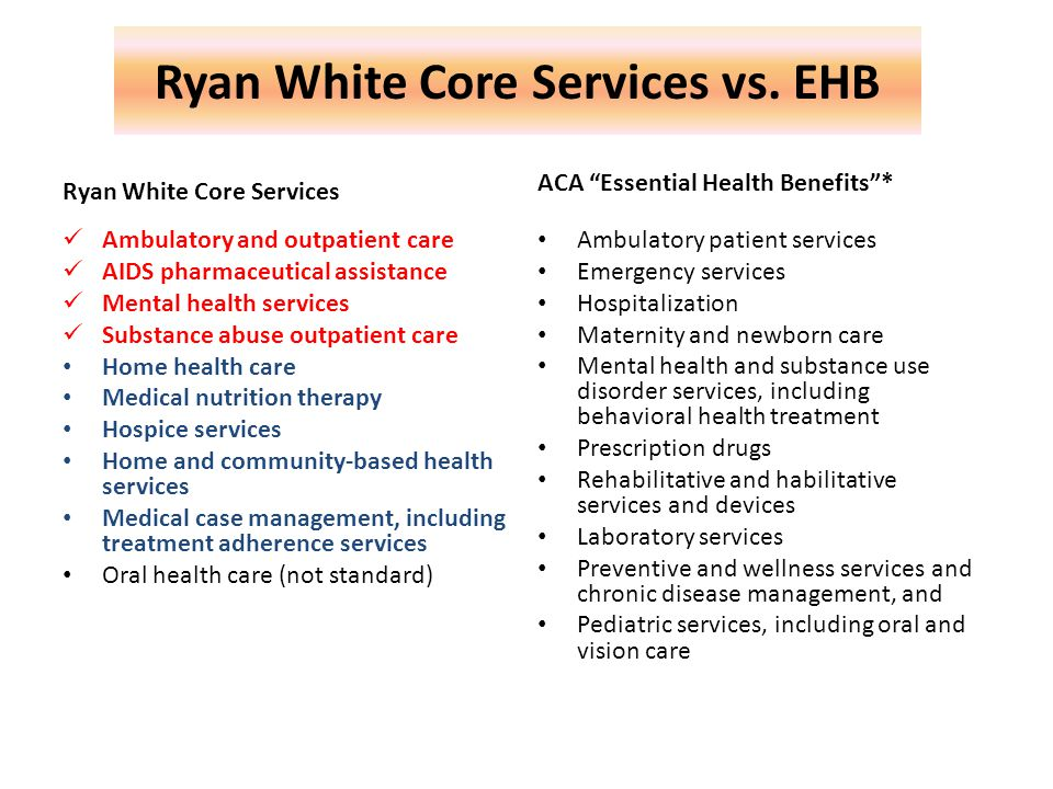Ryan White Core Services vs.