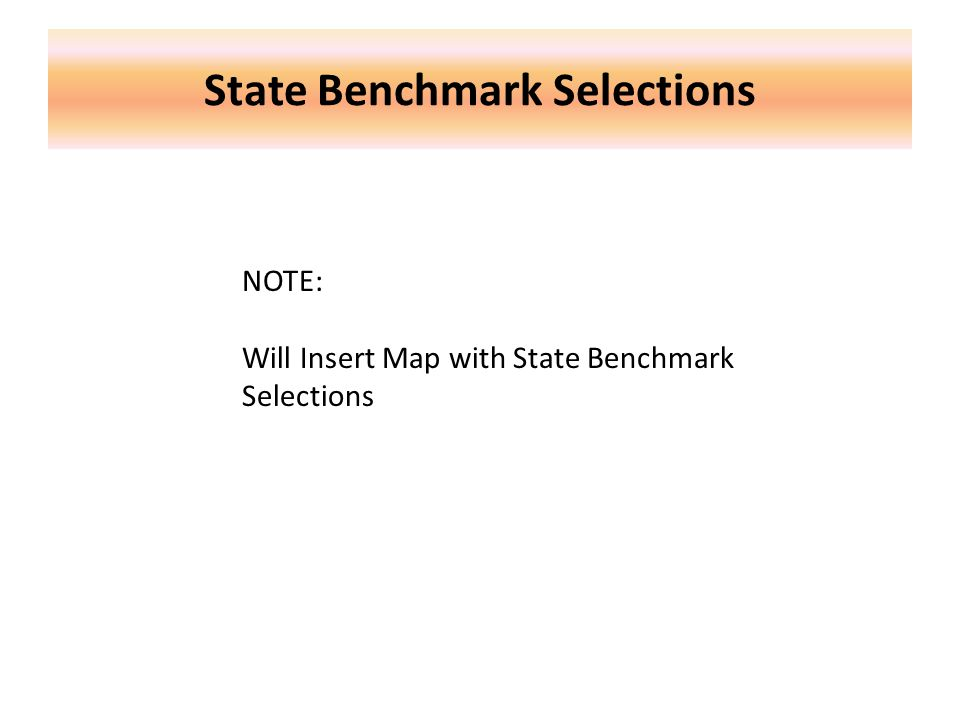 State Benchmark Selections NOTE: Will Insert Map with State Benchmark Selections