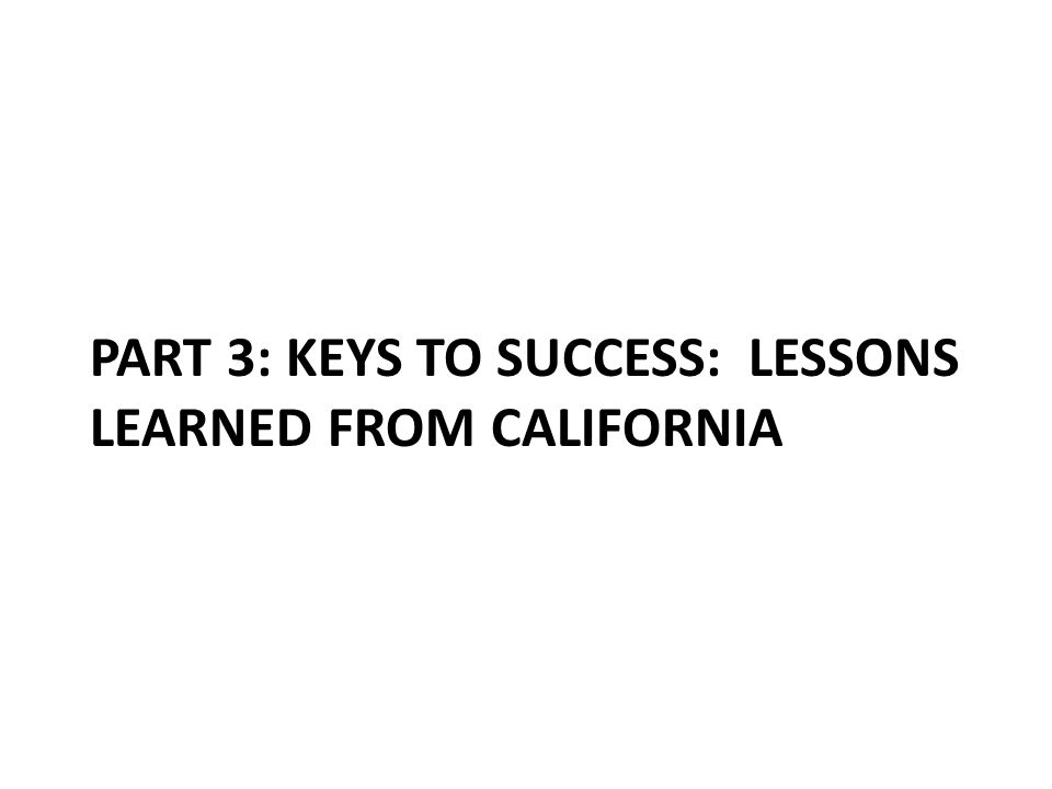 PART 3: KEYS TO SUCCESS: LESSONS LEARNED FROM CALIFORNIA