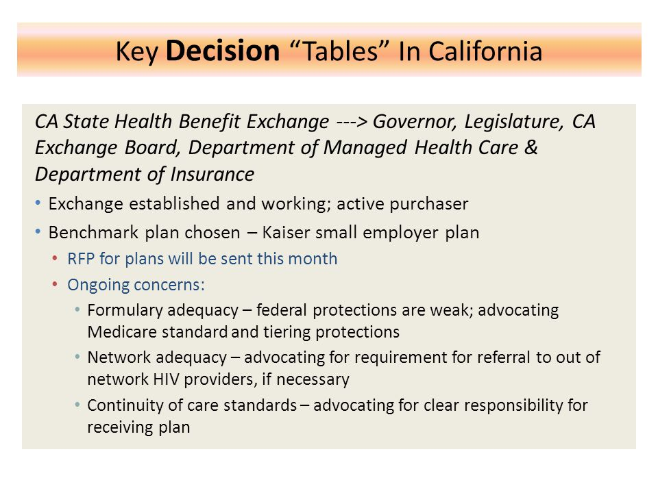 Key Decision Tables In California CA State Health Benefit Exchange ---> Governor, Legislature, CA Exchange Board, Department of Managed Health Care & Department of Insurance Exchange established and working; active purchaser Benchmark plan chosen – Kaiser small employer plan RFP for plans will be sent this month Ongoing concerns: Formulary adequacy – federal protections are weak; advocating Medicare standard and tiering protections Network adequacy – advocating for requirement for referral to out of network HIV providers, if necessary Continuity of care standards – advocating for clear responsibility for receiving plan