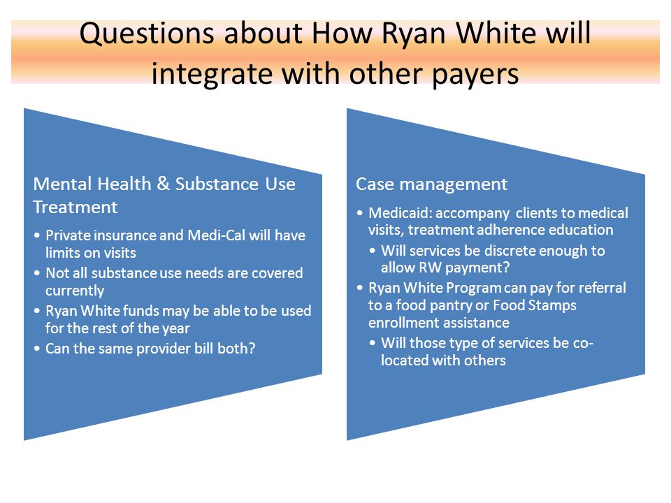 Questions about How Ryan White will integrate with other payers Mental Health & Substance Use Treatment Private insurance and Medi-Cal will have limits on visits Not all substance use needs are covered currently Ryan White funds may be able to be used for the rest of the year Can the same provider bill both.