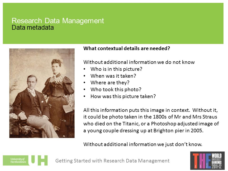 Research Data Management Data metadata What contextual details are needed.