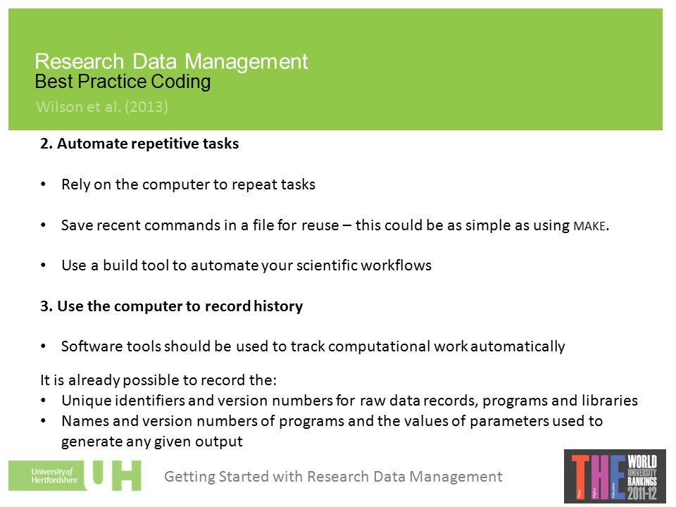 Research Data Management Best Practice Coding 2.