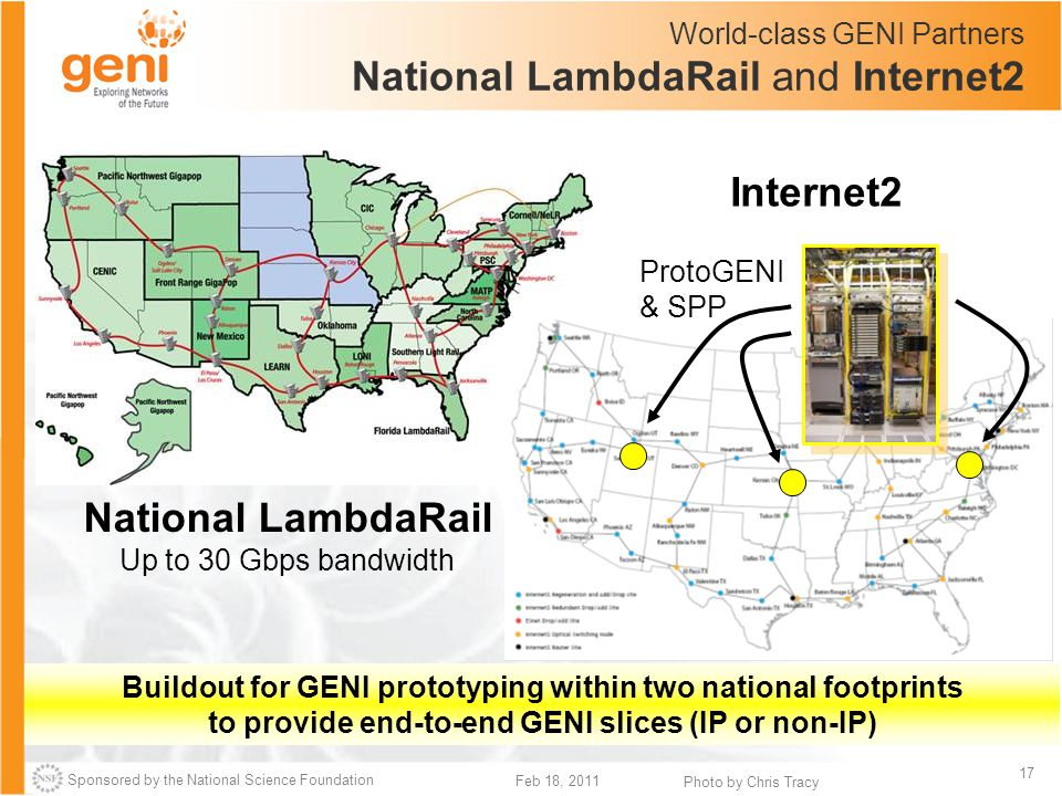 Sponsored by the National Science Foundation 17 Feb 18, 2011 World-class GENI Partners National LambdaRail and Internet2 Buildout for GENI prototyping within two national footprints to provide end-to-end GENI slices (IP or non-IP) National LambdaRail Up to 30 Gbps bandwidth Internet2 ProtoGENI & SPP Photo by Chris Tracy
