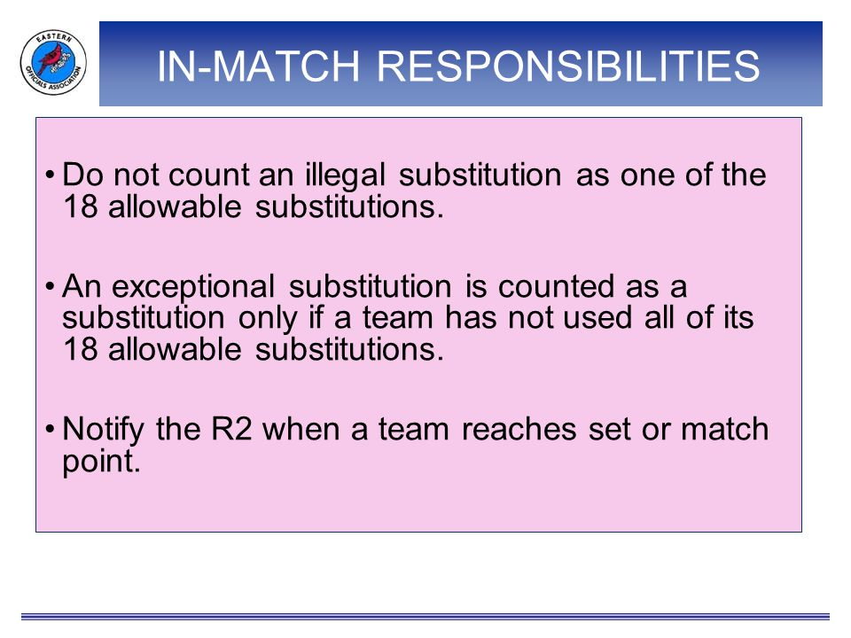 IN-MATCH RESPONSIBILITIES Do not count an illegal substitution as one of the 18 allowable substitutions. An exceptional substitution is counted as a s