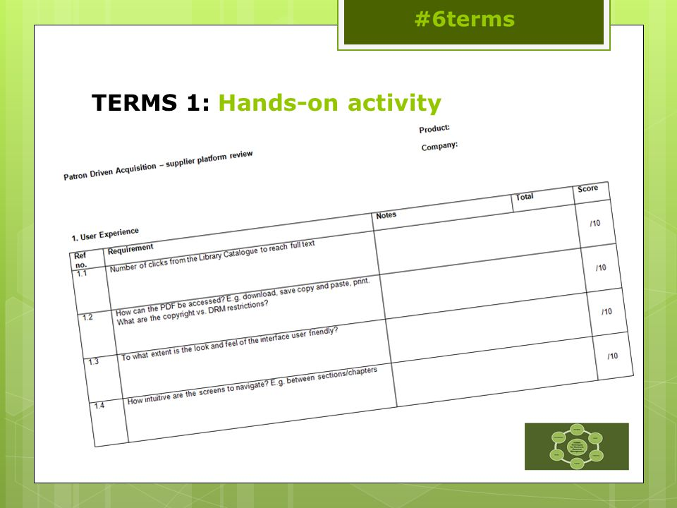 TERMS 1: Hands-on activity