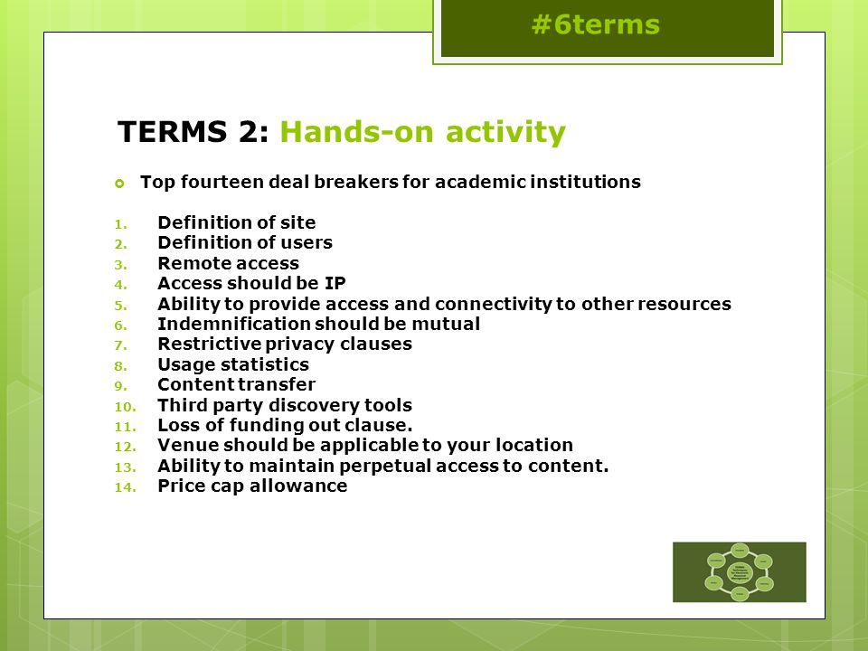 TERMS 2: Hands-on activity  Top fourteen deal breakers for academic institutions 1.