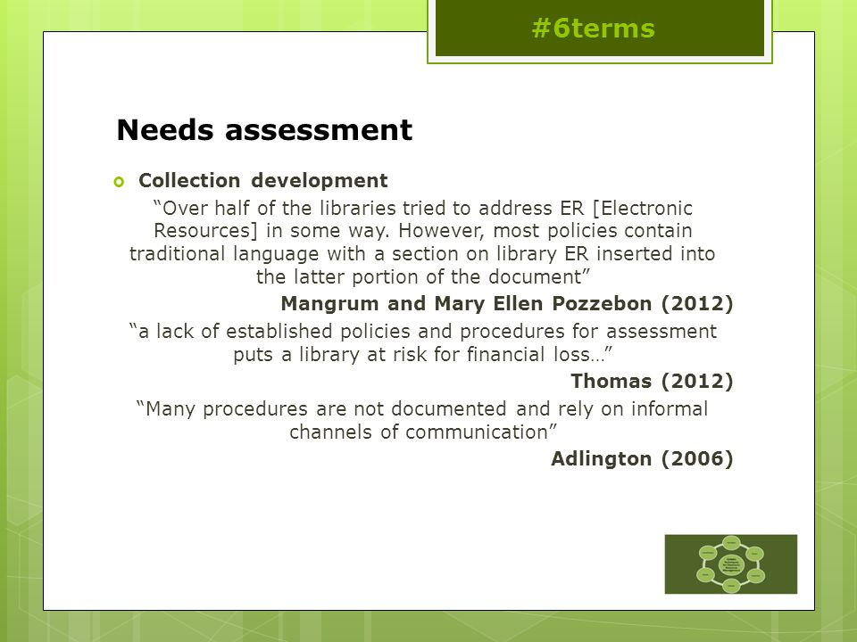 Needs assessment  Collection development Over half of the libraries tried to address ER [Electronic Resources] in some way.