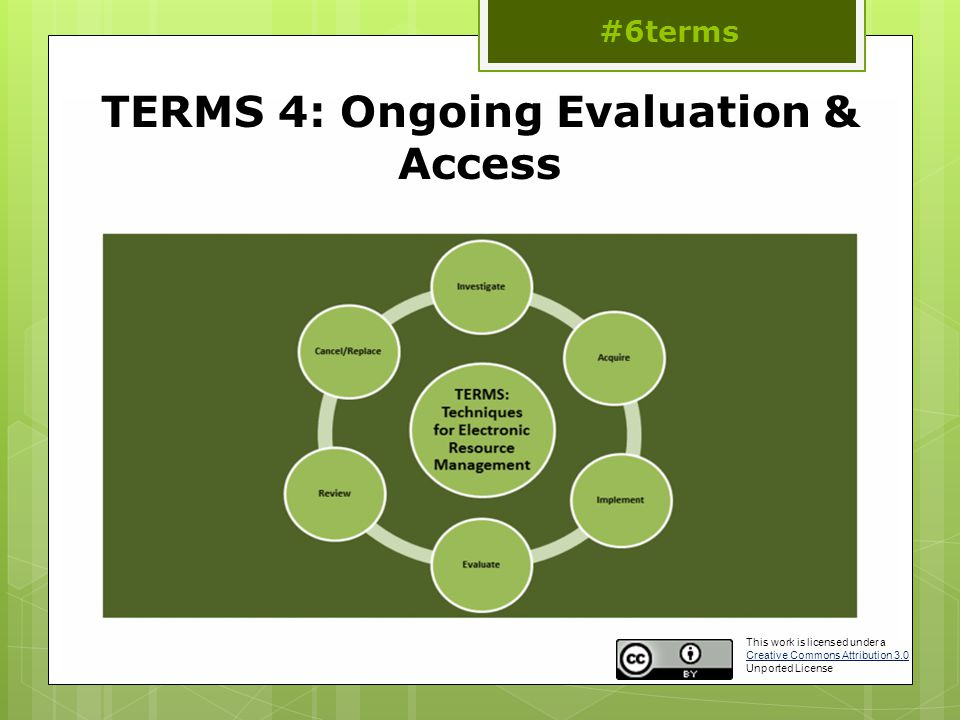 TERMS 4: Ongoing Evaluation & Access #6terms This work is licensed under a Creative Commons Attribution 3.0 Unported License Creative Commons Attribution 3.0
