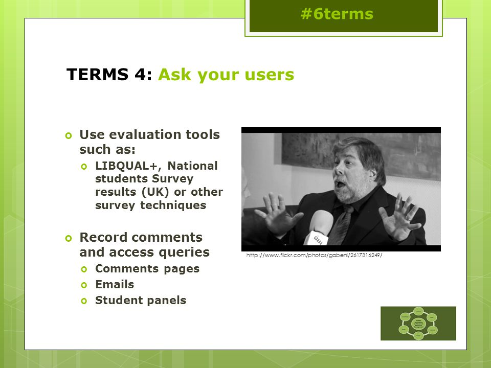 TERMS 4: Ask your users  Use evaluation tools such as:  LIBQUAL+, National students Survey results (UK) or other survey techniques  Record comments and access queries  Comments pages  Emails  Student panels http://www.flickr.com/photos/gabenl/2617316249/