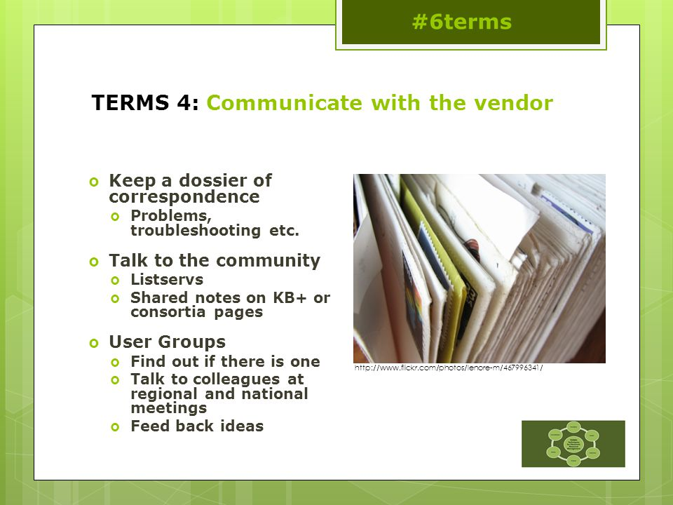 TERMS 4: Communicate with the vendor  Keep a dossier of correspondence  Problems, troubleshooting etc.
