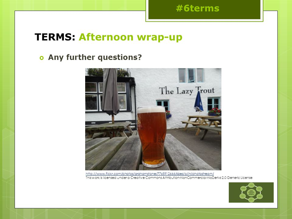 TERMS: Afternoon wrap-up  Any further questions.