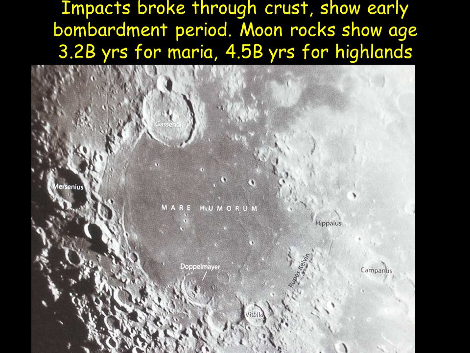 Impacts broke through crust, show early bombardment period.