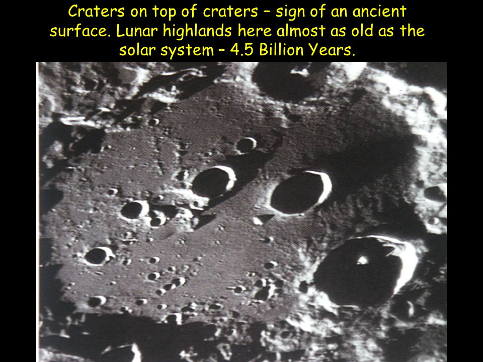 Craters on top of craters – sign of an ancient surface.