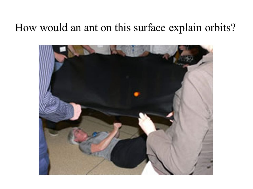 How would an ant on this surface explain orbits?