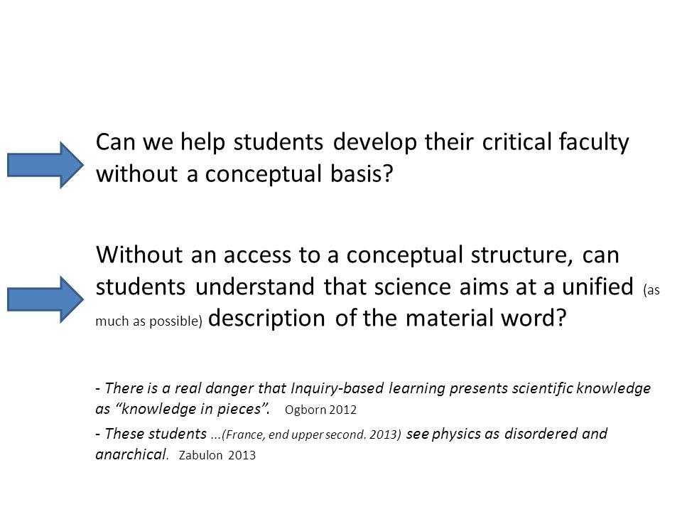 Co-development of critical attitude and conceptual understanding Critical attitude Comprehension Threshold of comprehension