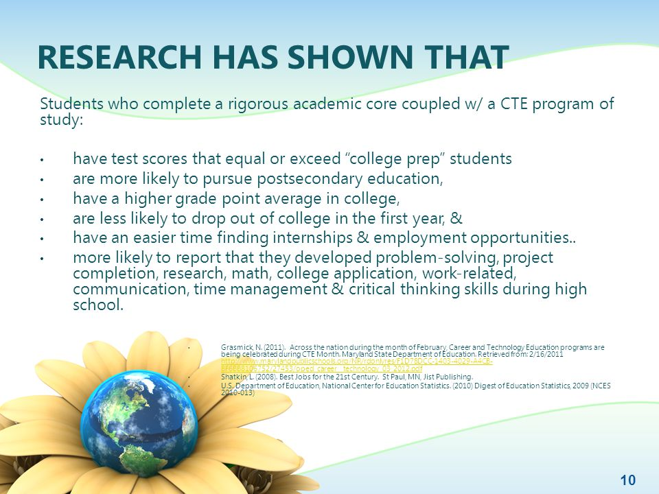 RESEARCH HAS SHOWN THAT Students who complete a rigorous academic core coupled w/ a CTE program of study: have test scores that equal or exceed college prep students are more likely to pursue postsecondary education, have a higher grade point average in college, are less likely to drop out of college in the first year, & have an easier time finding internships & employment opportunities..