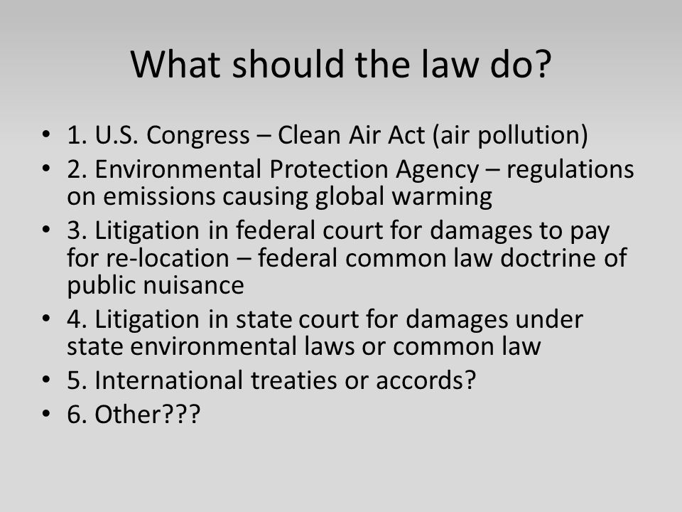 What should the law do? 1. U.S. Congress – Clean Air Act (air pollution) 2. Environmental Protection Agency – regulations on emissions causing global