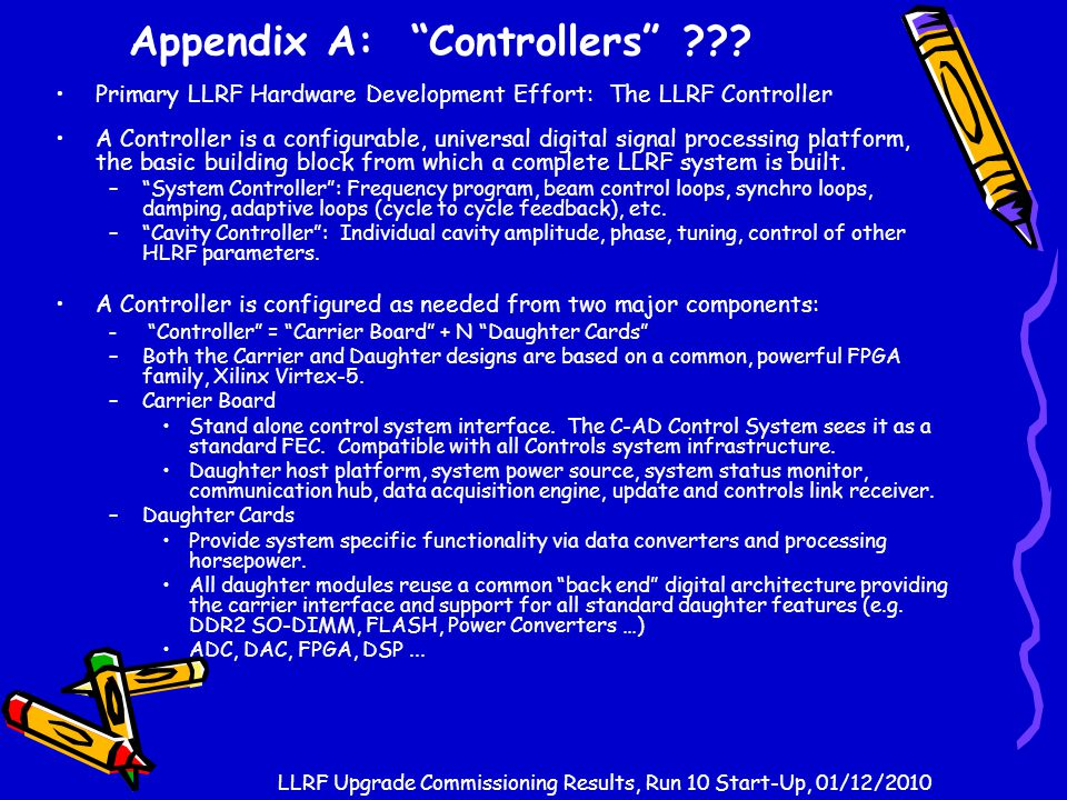 "Appendix A: ""Controllers"" ??? Primary LLRF Hardware Development Effort: The LLRF Controller A Controller is a configurable, universal digital signal p"
