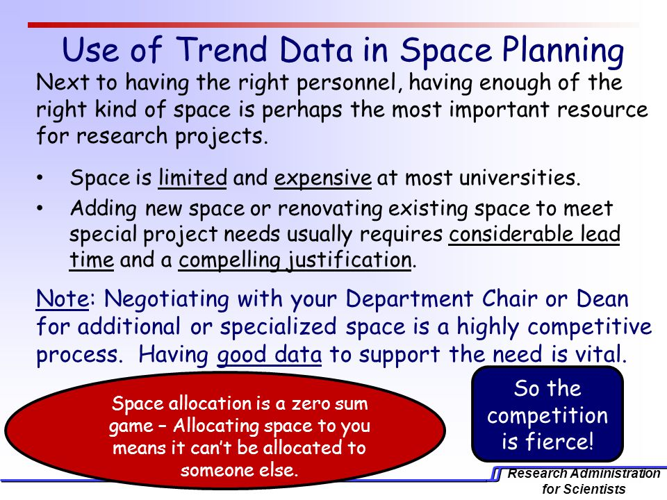 Research Administration for Scientists Use of Trend Data in Space Planning Next to having the right personnel, having enough of the right kind of space is perhaps the most important resource for research projects.