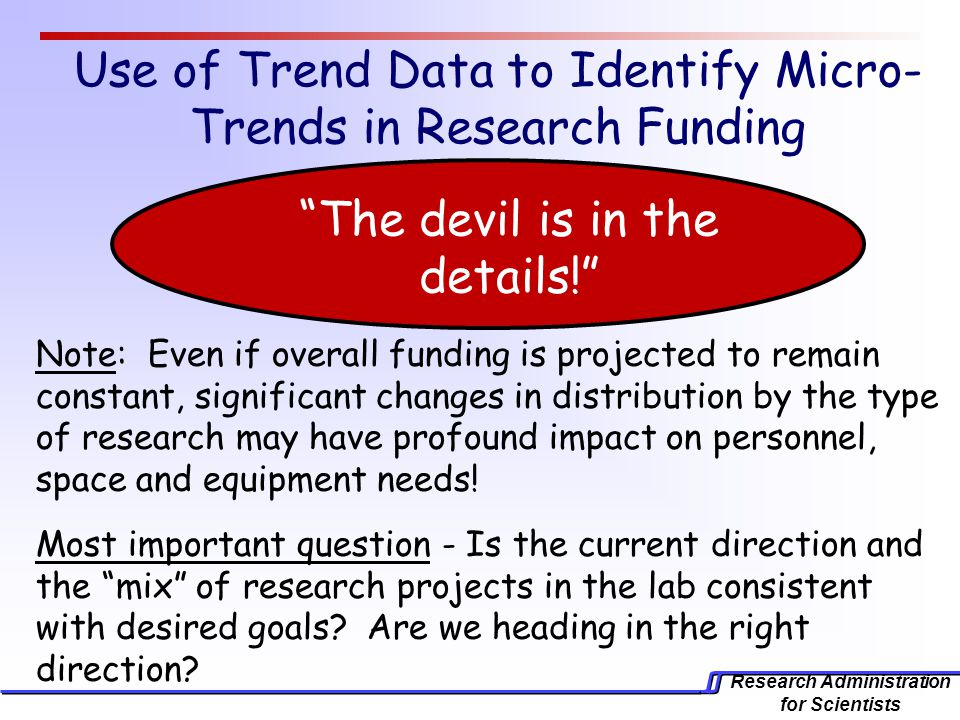 Research Administration for Scientists Use of Trend Data to Identify Micro- Trends in Research Funding Note: Even if overall funding is projected to remain constant, significant changes in distribution by the type of research may have profound impact on personnel, space and equipment needs.