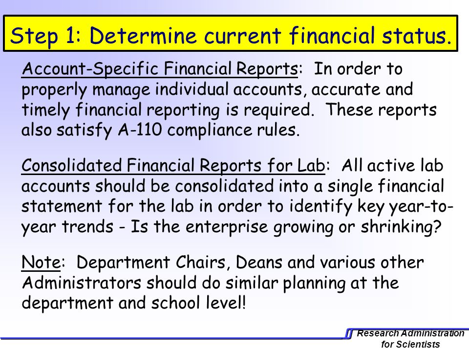 Research Administration for Scientists Step 1: Determine current financial status.
