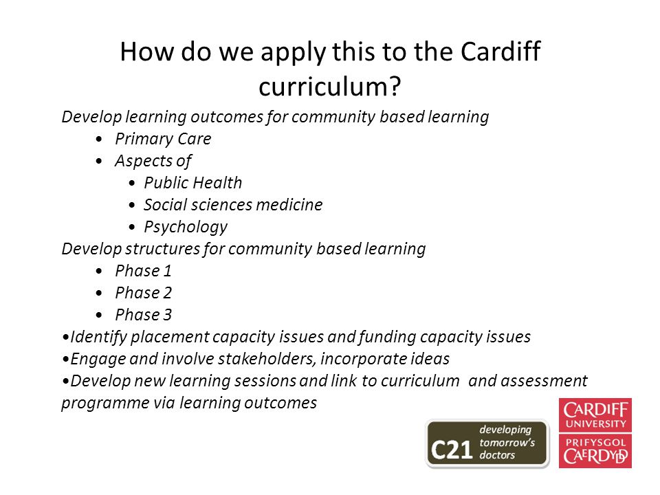 How do we apply this to the Cardiff curriculum.