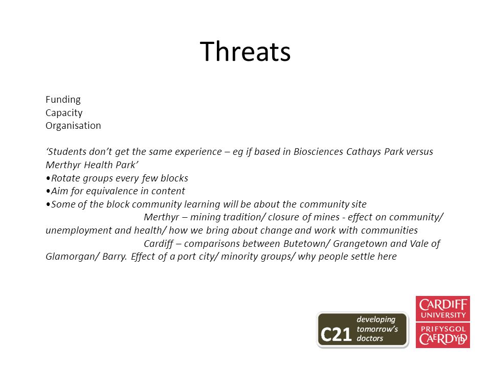 Threats Funding Capacity Organisation 'Students don't get the same experience – eg if based in Biosciences Cathays Park versus Merthyr Health Park' Rotate groups every few blocks Aim for equivalence in content Some of the block community learning will be about the community site Merthyr – mining tradition/ closure of mines - effect on community/ unemployment and health/ how we bring about change and work with communities Cardiff – comparisons between Butetown/ Grangetown and Vale of Glamorgan/ Barry.