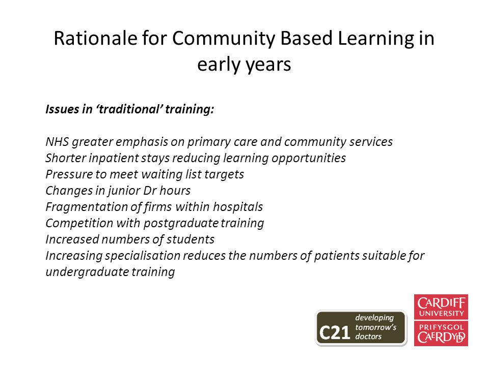 Rationale for Community Based Learning in early years Issues in 'traditional' training: NHS greater emphasis on primary care and community services Shorter inpatient stays reducing learning opportunities Pressure to meet waiting list targets Changes in junior Dr hours Fragmentation of firms within hospitals Competition with postgraduate training Increased numbers of students Increasing specialisation reduces the numbers of patients suitable for undergraduate training