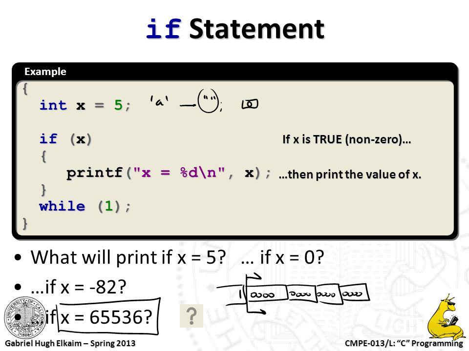 """CMPE-013/L: """"C"""" Programming Gabriel Hugh Elkaim – Spring 2013 Example{ int x = 5; int x = 5; if (x) if (x) { printf("""