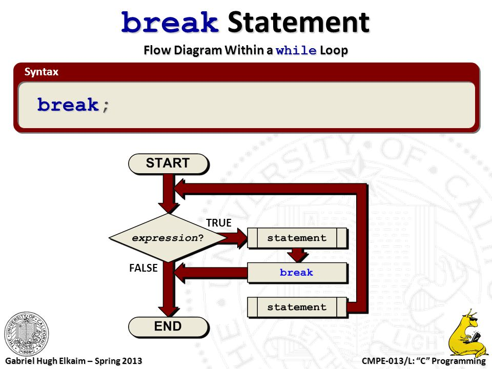 "CMPE-013/L: ""C"" Programming Gabriel Hugh Elkaim – Spring 2013 Syntax break Statement Flow Diagram Within a while Loop break; TRUE FALSE"