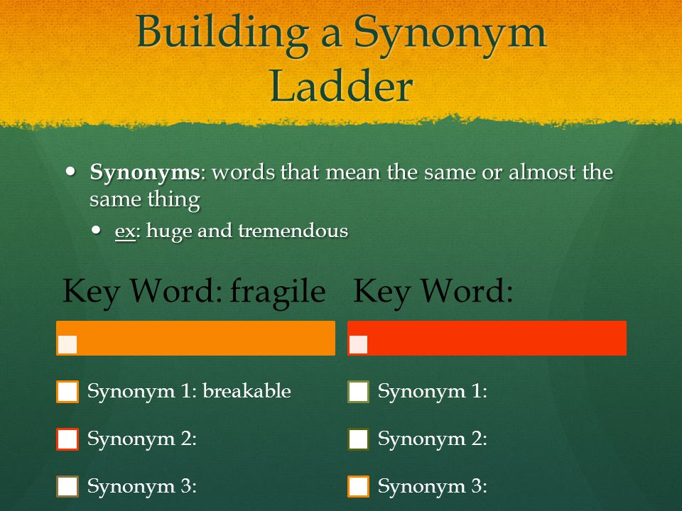 Building a Synonym Ladder Synonyms : words that mean the same or almost the same thing Synonyms : words that mean the same or almost the same thing ex