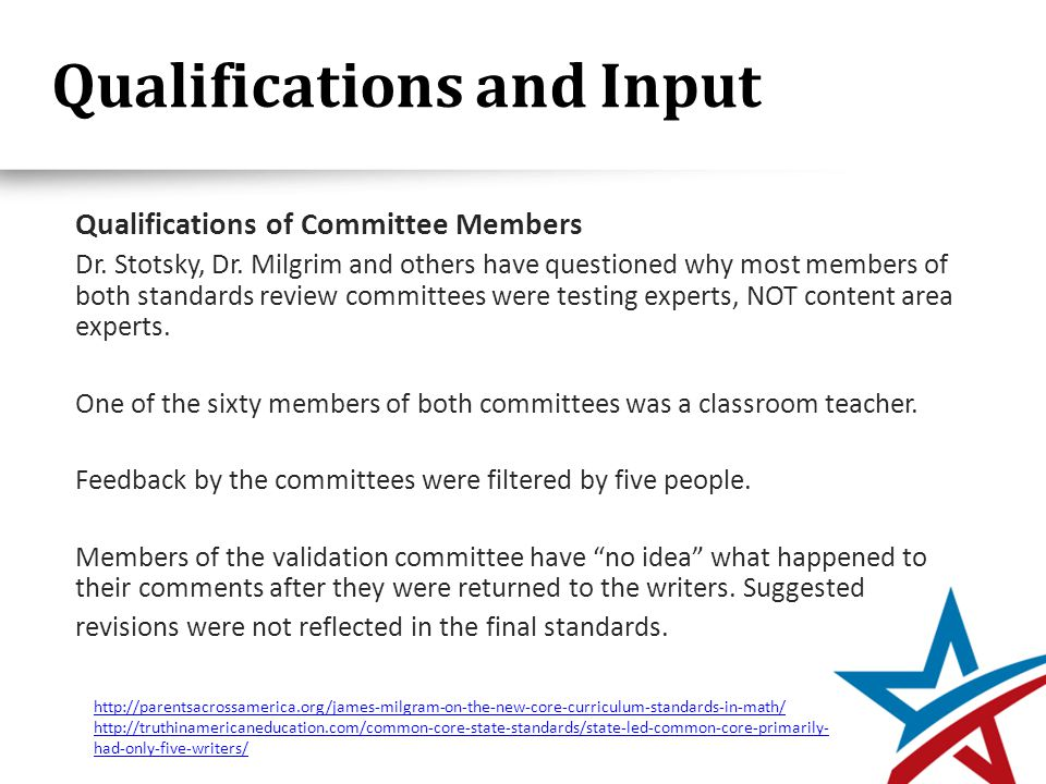 Qualifications and Input Qualifications of Committee Members Dr.