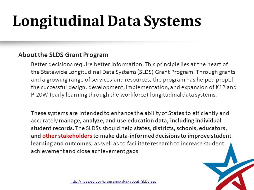 Longitudinal Data Systems About the SLDS Grant Program Better decisions require better information.