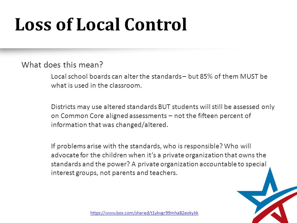 Loss of Local Control What does this mean.