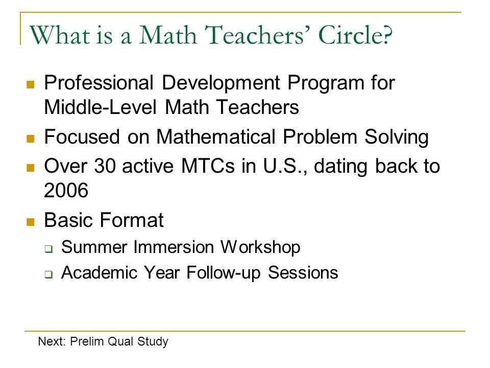 What is a Math Teachers' Circle.