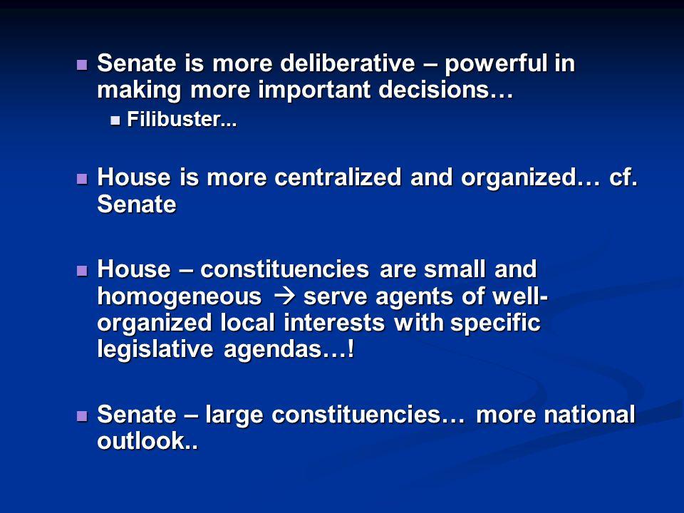 Senate is more deliberative – powerful in making more important decisions… Senate is more deliberative – powerful in making more important decisions… Filibuster...