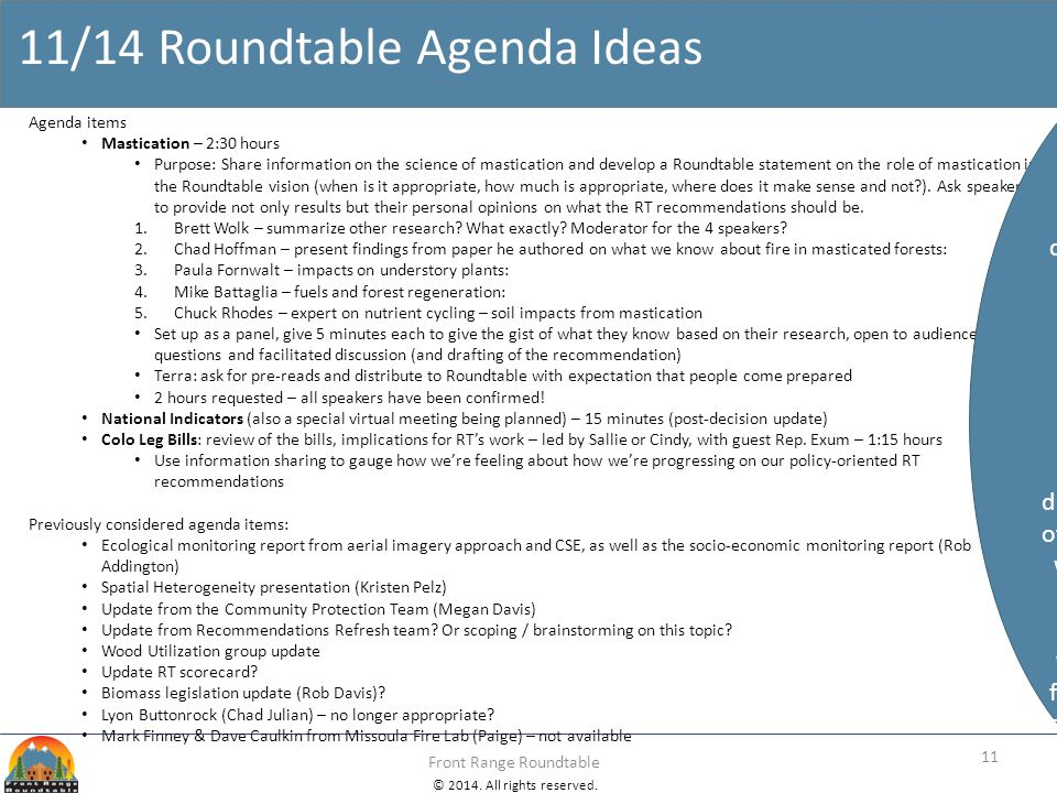 © 2014. All rights reserved. Front Range Roundtable 11/14 Roundtable Agenda Ideas 11 Agenda items Mastication – 2:30 hours Purpose: Share information