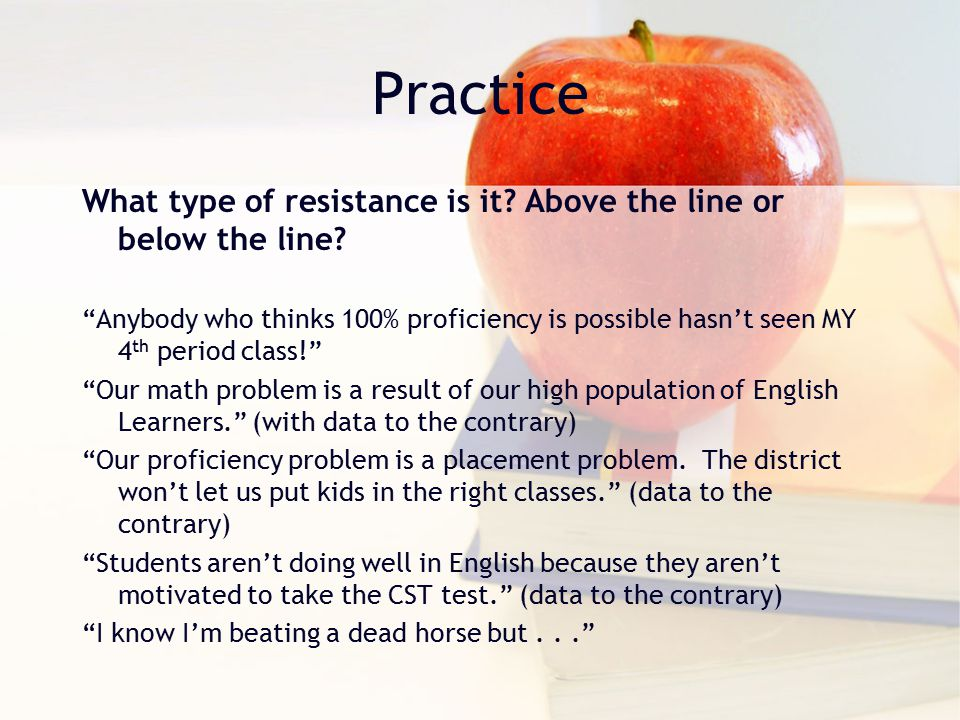 Practice What type of resistance is it. Above the line or below the line.