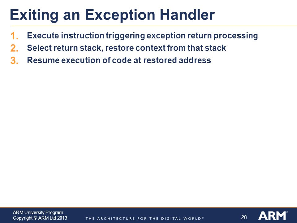28 ARM University Program Copyright © ARM Ltd 2013 Exiting an Exception Handler 1.
